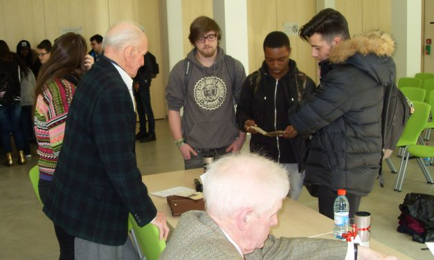 Besuch von zwei ehemaligen Zwangsrekrutierten aus dem Zweiten Weltkrieg im Lycée Michel Lucius (2015)
