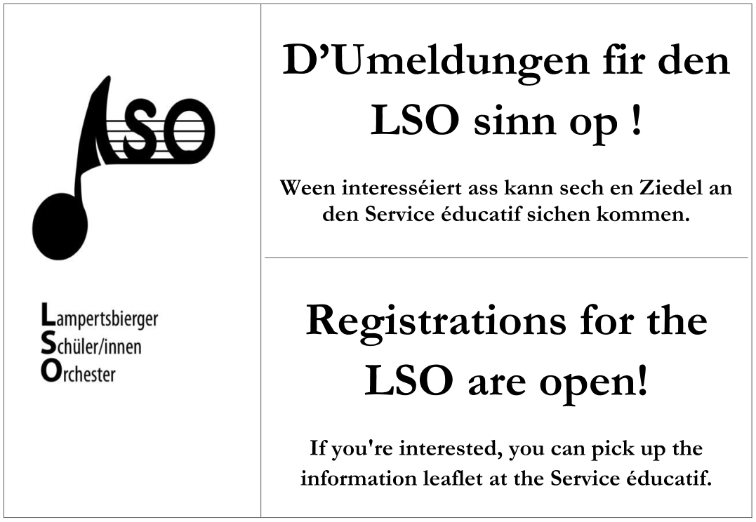 LSO registrations are open for 2016 - come to the Service éducatif to sign up!